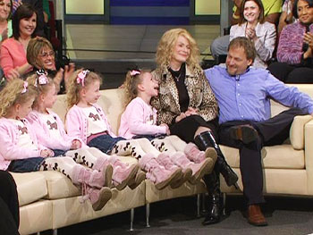 Allison, Steve and their quadruplet daughters, Grace, Anna, Emily and Mary Claire