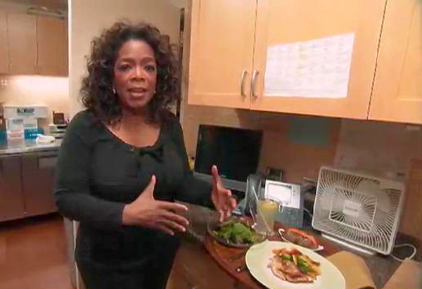 Oprah eats small meals throughout the day.