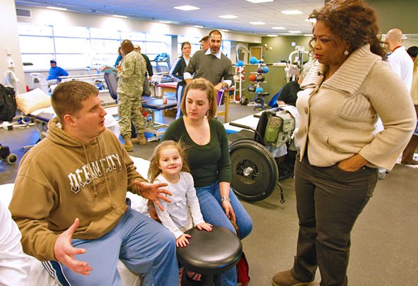 Army National Guard Sgt. Travis Ryan Wood and his family at Walter Reed