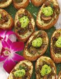 Artichoke, Mushroom and Leek Crostini with Pesto