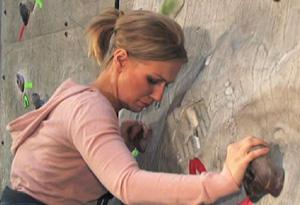Shayna on the rock climbing wall