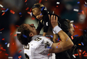 Drew Brees and his son, Baylen