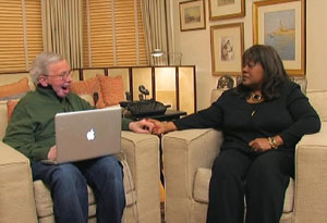 Roger Ebert hears his new voice for the first time.