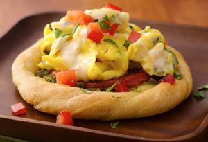 Tomato Basil Eggs Alfredo in Bread Baskets