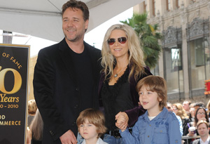 Russell Crowe and his family