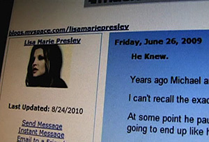 Lisa Marie Presley's MySpace blog about Michael Jackson