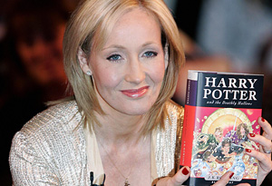 J.K. Rowling and a Harry Potter book