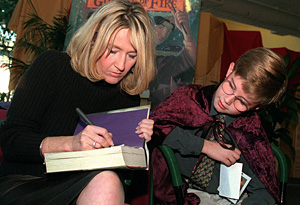 J.K. Rowling signing her book