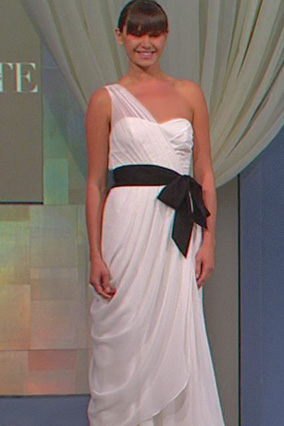 One-shoulder, crinkle chiffon-draped gown by Vera Wang