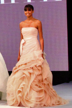 Strapless structural organza fit-and-flare gown