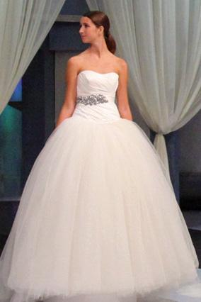 Strapless taffeta gown