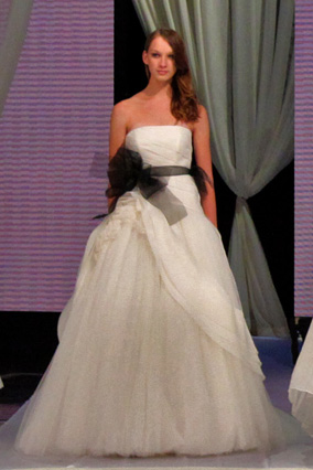 Strapless satin-faced organza ball gown
