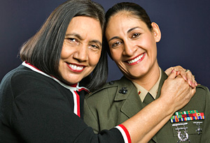 Female soldier and family member
