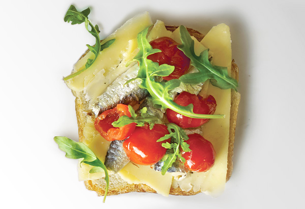 Gruyere, Sardine, Peppadew Peppers and Arugula on Rye Grilled Cheese Sandwich
