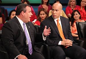 Mayor Cory Booker and Gov. Chris Christie
