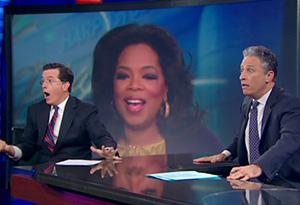Oprah surprises the Daily Show audience.