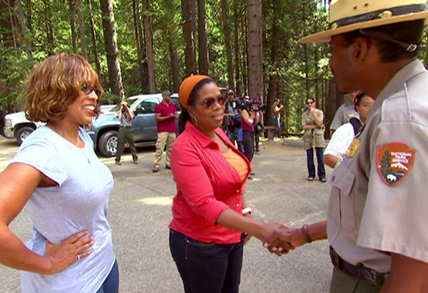 Gayle, Oprah and Shelton Johnson