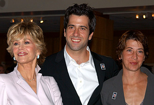 Jane Fonda with her children, Troy and Vanessa