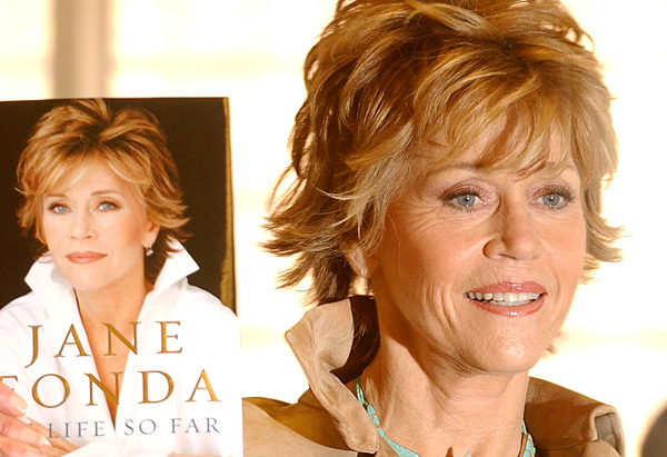 Jane Fonda with her memoir, My Life So Far, in 2005