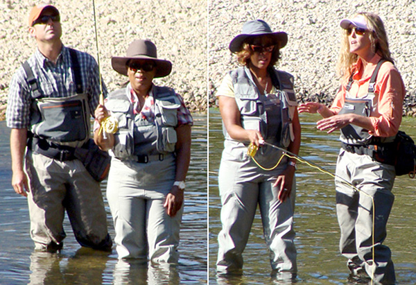 Oprah and Gayle fly fishing