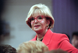 Sally Jessy Raphael in her signature red glasses