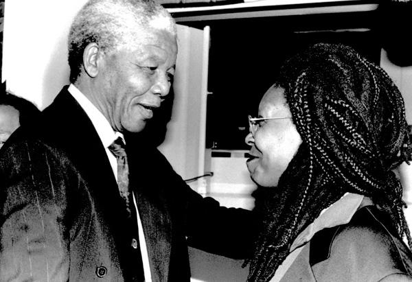 Whoopi Goldberg and Nelson Mandela