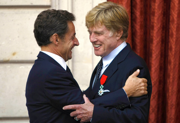 Robert Redford and President Nicolas Sarkozy