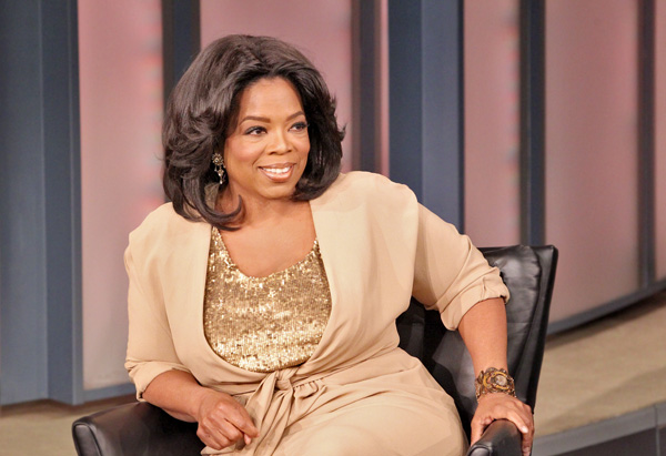 Oprah sitting in a black chair