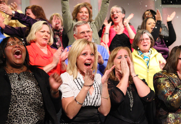 Excited audience members at Oprah's Ultimate Favorite Things, Part 2