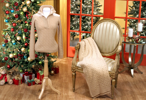 Cashmere Oprah Sweater and Cashmere Cable Throw by Ralph Lauren