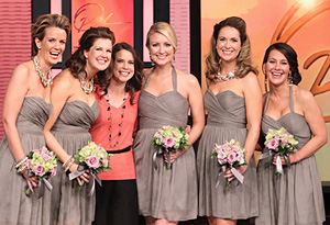 Kathryn's bridesmaids surprise her.