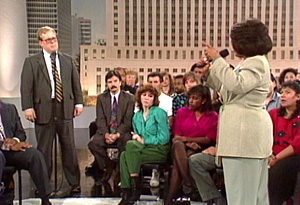 Oprah talks to an audience in L.A. after the Rodney King verdict.