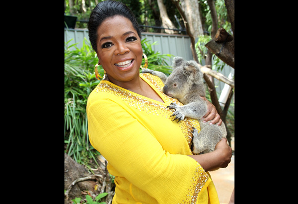 Oprah with Elvis the Koala