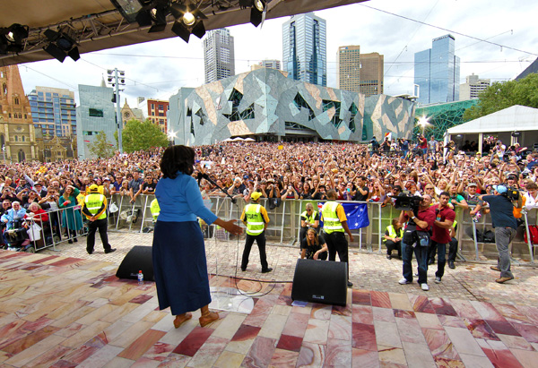 Oprah at Federation Square in Melbourne