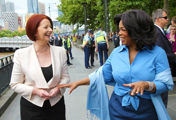 Oprah meets Australian Prime Minister Julia Gillard.