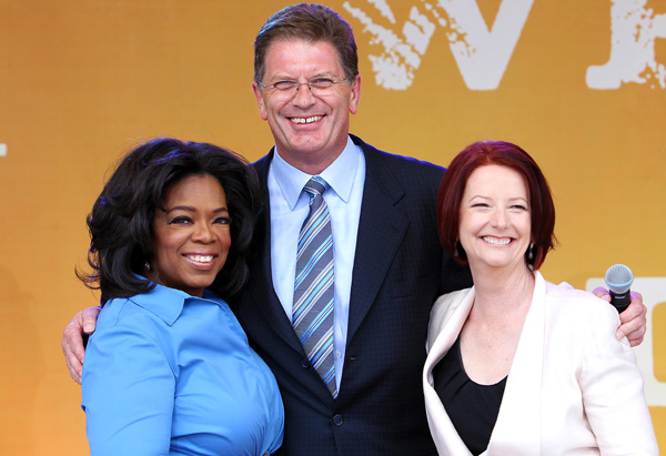 Oprah with Julia Gillard and Ted Baillieu