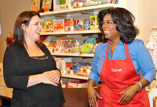 Oprah and an expectant mom