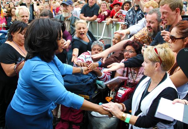 Oprah greets fans in Melbourne, Australia.