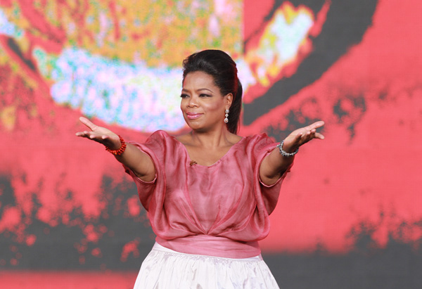 Oprah on stage at the Sydney Opera House