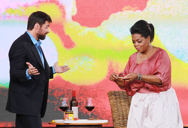 Oprah and Hugh Jackman eating Vegemite
