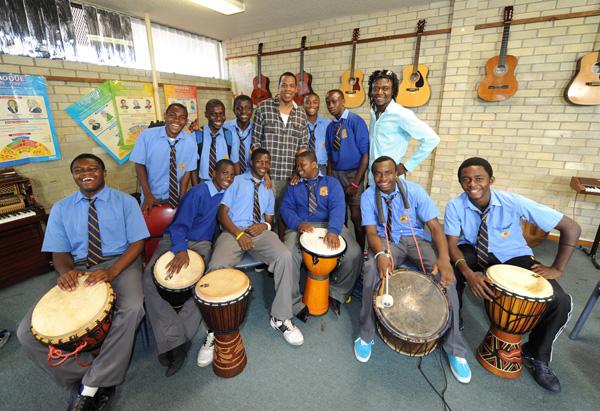 Jay-Z with the Canterbury Boys High School