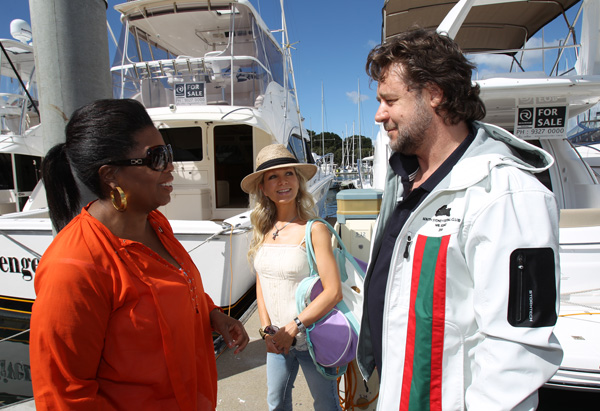 Oprah, Russell Crowe and his wife Danielle