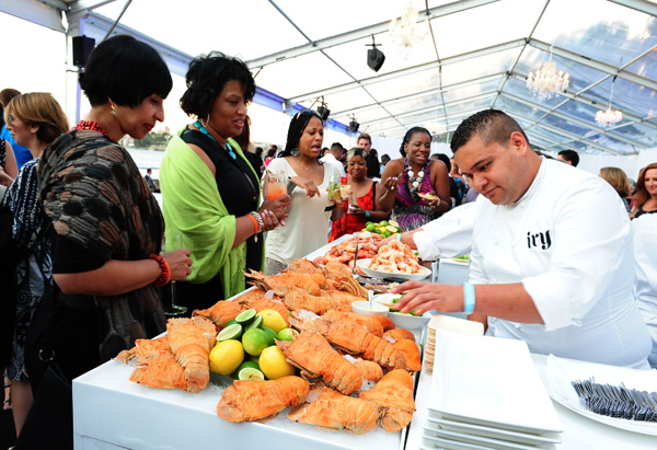 Chef with shellfish
