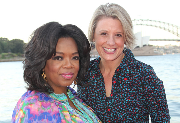 Oprah with the premiere of New South Wales Kristina Keneally