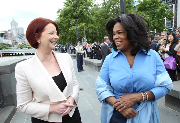 Oprah and Julia Gillard, Australia's first female Prime Minister