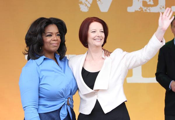 Melbinian fans greet Oprah