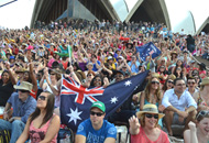 Australians holding their national flag