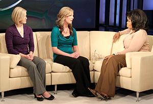 Twins Kellie and Kathie Henderson with Oprah