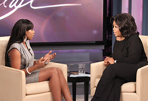 Jennifer Hudson talking with Oprah