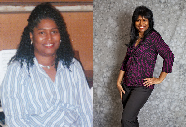 Debra, before and after losing weight